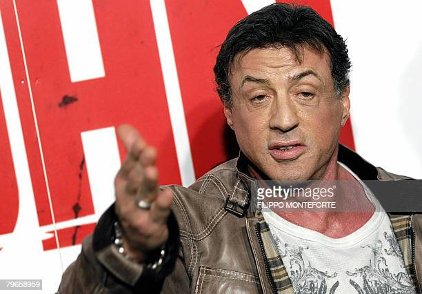 US actor Sylvester Stallone speaks as he arrives to the Italian premiere for his new film John Rambo at Warner Cinema downtown Rome February 8 2008...