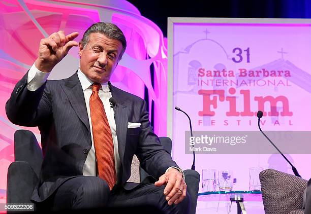 Actor Sylvester Stallone speaks at the Montecito Award at the Arlington Theater at the 31st Santa Barbara International Film Festival on February 9...