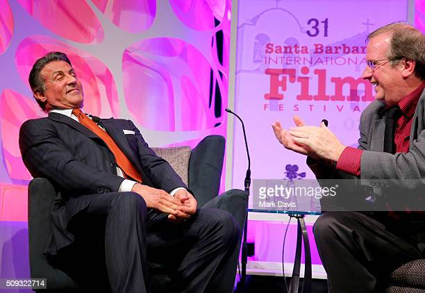 Actor Sylvester Stallone speaks with Moderator Pete Hammond at the Montecito Award at the Arlington Theater at the 31st Santa Barbara International...