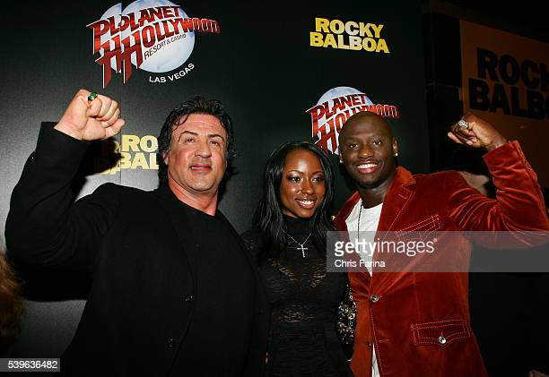 Actor Sylvester Stallone Tarver's fiance Denise Booth and actor and boxing champion Antonio Tarver arrive at the Las Vegas premiere of Rocky Balboa...