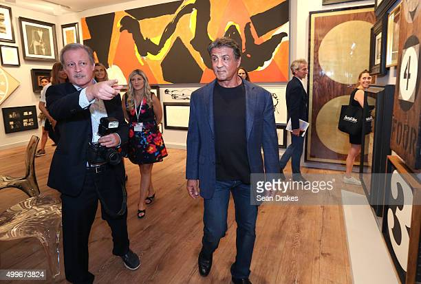 Actor Sylvester Stallone tours Galerie Gmurzynska during the VIP opening of Art Basel Miami Beach at the Miami Convention Center in Miami Florida on...