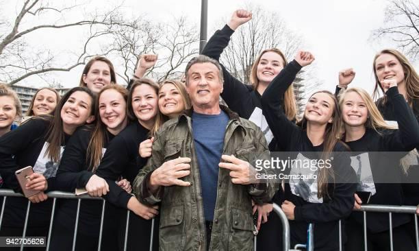 Actor Sylvester Stallone Visits Rocky Statue on April 6 2018 in Philadelphia Pennsylvania