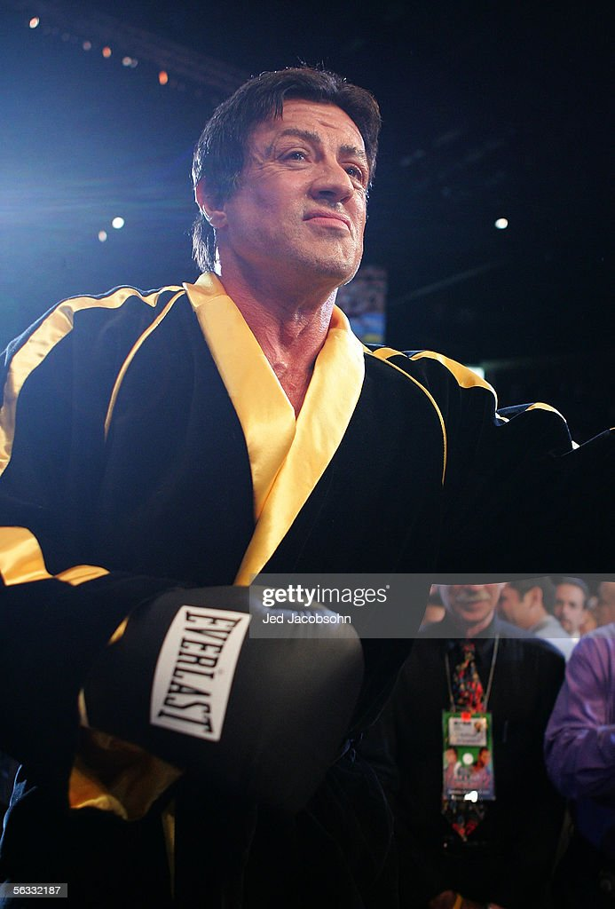 Actor Sylvester Stallone walks into the ring as scenes from the film 'Rocky VI' are filmed before the start of the Bernard Hopkins and Jermain Taylor fight at the Mandalay Bay Events Center on December 3, 2005 in Las Vegas, Nevada.