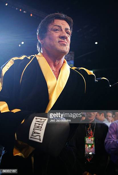 Actor Sylvester Stallone walks into the ring as scenes from the film Rocky VI are filmed before the start of the Bernard Hopkins and Jermain Taylor...