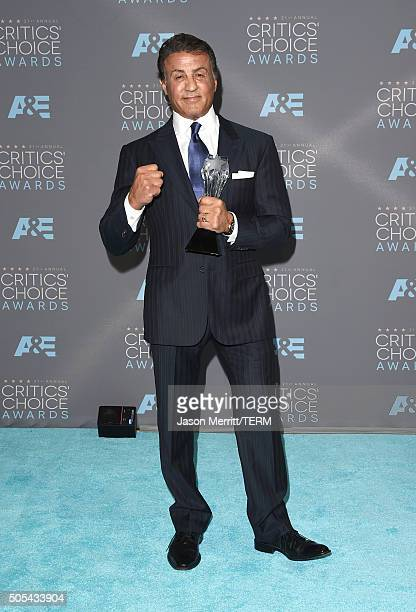 Actor Sylvester Stallone winner of Best Supporting Actor for Creed poses in the press room during the 21st Annual Critics' Choice Awards at Barker...