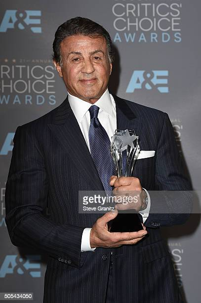 """Actor Sylvester Stallone, winner of the award for Best Supporting Actor for """"Creed,"""" poses in the press room during the 21st Annual Critics' Choice..."""