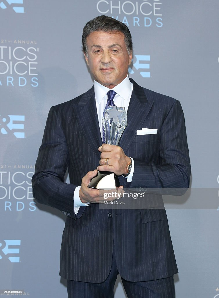 Actor Sylvester Stallone, winner of the award for Best Supporting Actor for 'Creed,' poses in the press room during the 21st Annual Critics' Choice Awards at Barker Hangar on January 17, 2016 in Santa Monica, California.