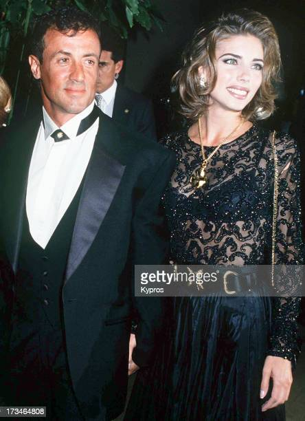 Actor Sylvester Stallone with his partner Jennifer Flavin circa 1995
