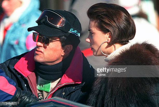 Actor Sylvester Stallone with his partner Jennifer Flavin on a skiing trip circa 1995