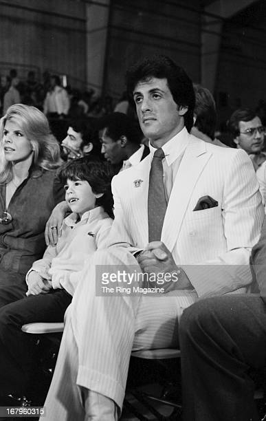 Actor Sylvester Stallone with wife Sasha Czack and son Sage Stallone watch the fight between Vinnie Curto and Jeff McCall at Caesars Palace in Las...