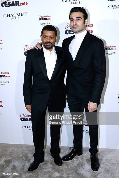 Actor Syrus Shahidi nominated for 'Une histoire de fou' and his sponsor Youssef Hajdi attend the 'Cesar Revelations 2016' Photocall at Chaumet...