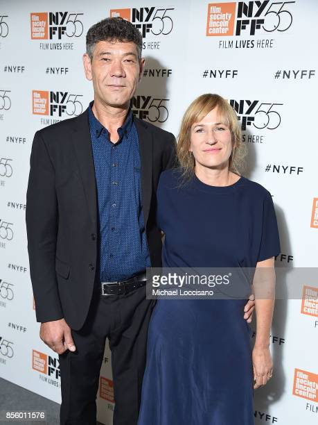 Actor Syuleyman Alilov Lefitov and director Valeska Grisebach pose before the a screening of the film 'Western' during the 55th New York Film...