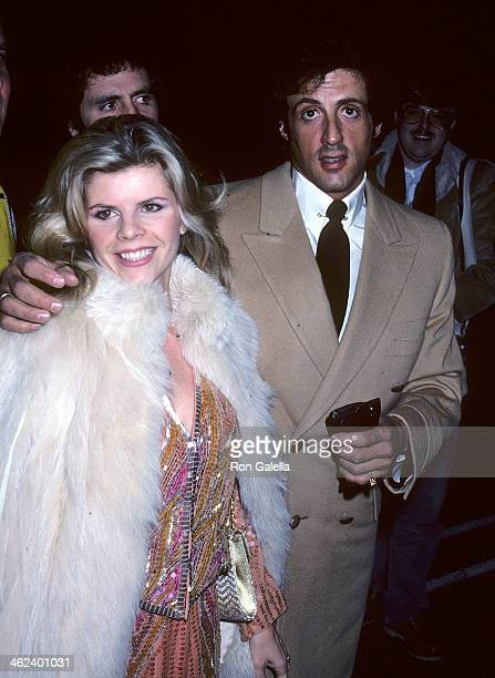 Actor Syvlester Stallone and wife Sasha Czack attend Jane Wooster Scott's Artwork Exhibition on March 29 1982 at the DeVille Galleries in Beverly...