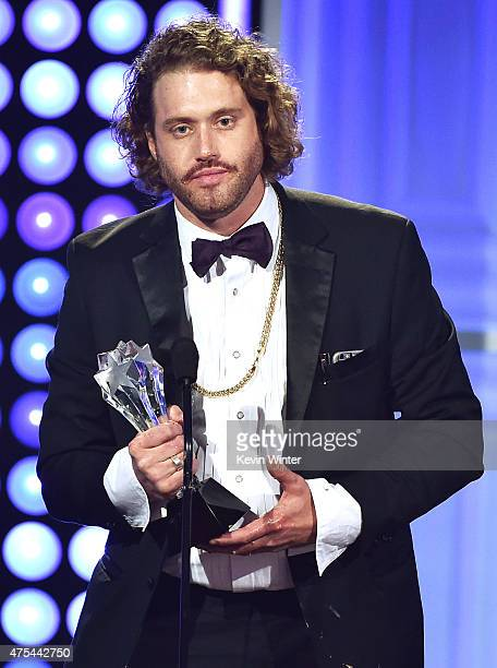 Actor T J Miller accepts the Best Supporting Actor award for 'Silicon Valley' onstage at the 5th Annual Critics' Choice Television Awards at The...