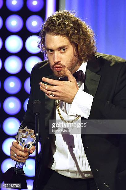Actor T J Miller accepts the Best Supporting Actor award for Silicon Valley onstage at the 5th Annual Critics' Choice Television Awards at The...