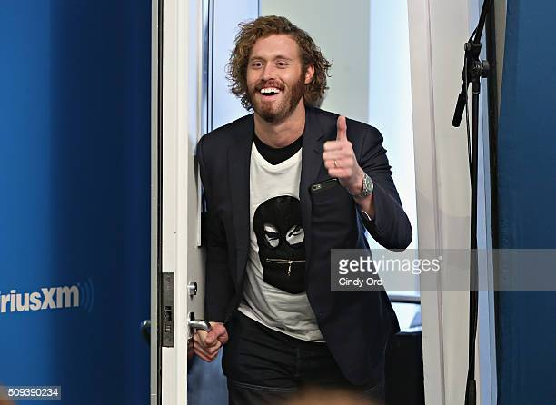 Actor T J MIller visits SiriusXM's Entertainment Weekly Radio Special with Ryan Reynolds hosted by Jess Cagle at SiriusXM Studio on February 10 2016...