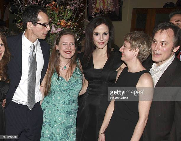 Actor T Ryder Smith Playwright Sarah Ruhl Actors Mary Louise Parker Kelly Maurer and David Aaron Baker pose at the opening night party for Sarah...