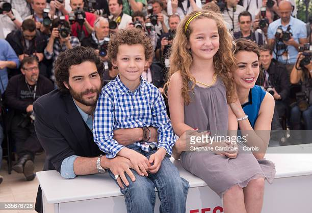 Actor Tahar Rahim actor Elyes Aguis actress Jeanne Jestin and actress Berenice Bejo attend Le Passe photo call during the 66th Cannes International...