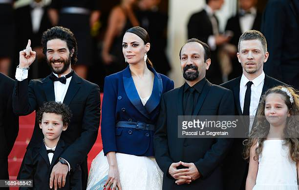 Actor Tahar Rahim actress Berenice Bejo director Asghar Farhadi producer Alexandre MalletGuy actress Jeanne Jestin and actor Elyes Aguis attend the...