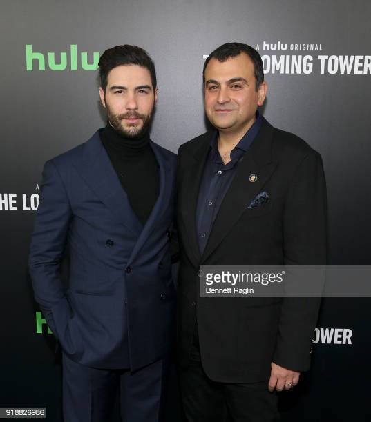 Actor Tahar Rahim and former FBI agent Ali Soufan attend Hulu's The Looming Tower series premiere at Paris Theatre on February 15 2018 in New York...