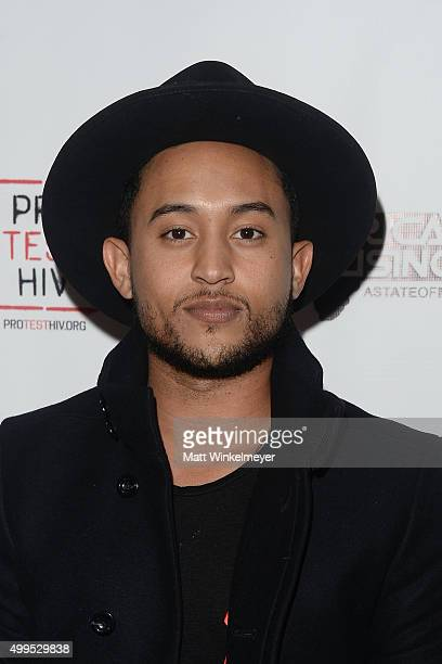 Actor Tahj Mowry arrives at the Inaugural World AIDS Day Benefit at Sofitel Hotel on December 1 2015 in Los Angeles California