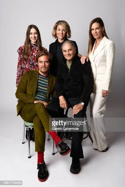 Actor Taissa Farmiga filmmaker Elizabeth Chomko and actor Hilary Swank actors Michael Shannon and Robert Forster from the film 'What They Had' pose...