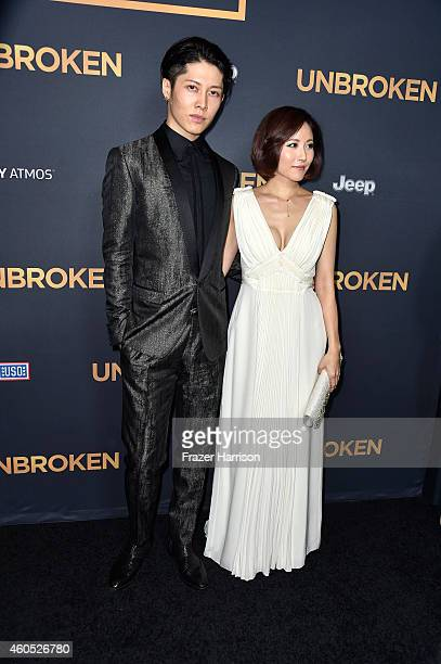 "Actor Takamasa Ishihara AKA Miyavi and Melody Ishihara attend the premiere of Universal Studios' ""Unbroken"" at TCL Chinese Theatre on December 15,..."