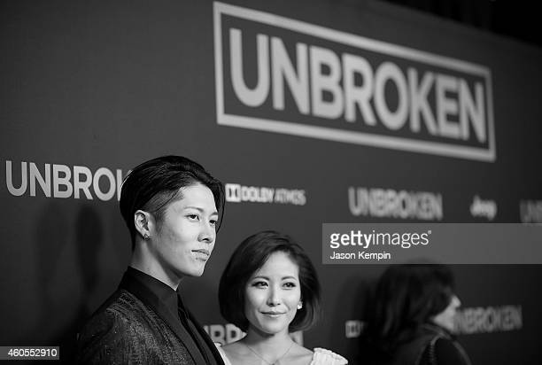"Actor Takamasa Ishihara and Melody Ishihara attend the premiere of ""Unbroken"" at TCL Chinese Theatre on December 15, 2014 in Hollywood, California."