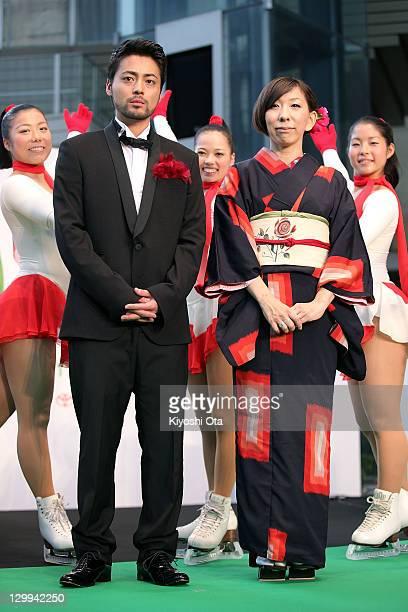 Actor Takayuki Yamada and director Yuki Iwata pose during the 24th Tokyo International Film Festival Opening Ceremony at Roppongi Hills on October 22...