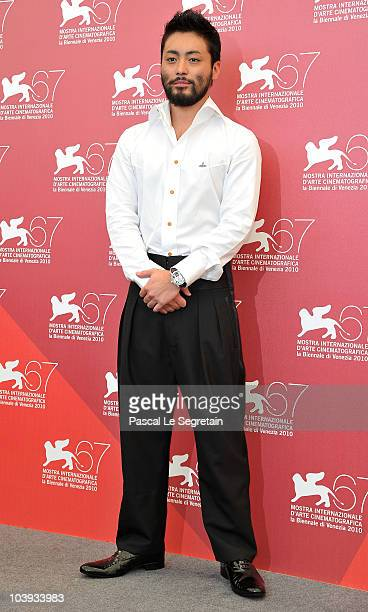 Actor Takayuki Yamada attend the 'Zebraman' and '13 Assassins' photocall during 67th Venice Film Festival at the Palazzo del Casino on September 9...