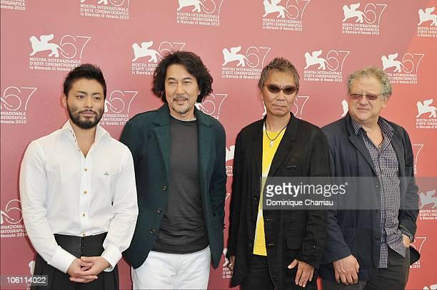Actor Takayuki Yamada director Takashi Miike actor Koji Yakusho and producer Jeremy Thomas attend the '13 Assassins' photocall at the Palazzo del...