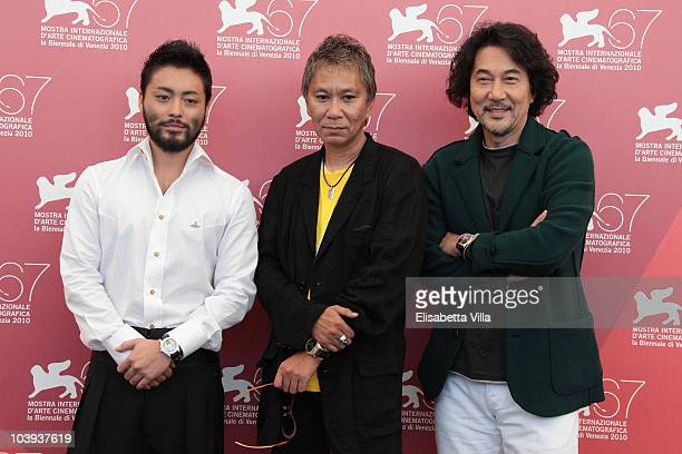 Actor Takayuki Yamada director Takashi Miike and actor Koji Yakusho attend a photocall for '13 Assassins' during the 67th Venice Film Festival at the...