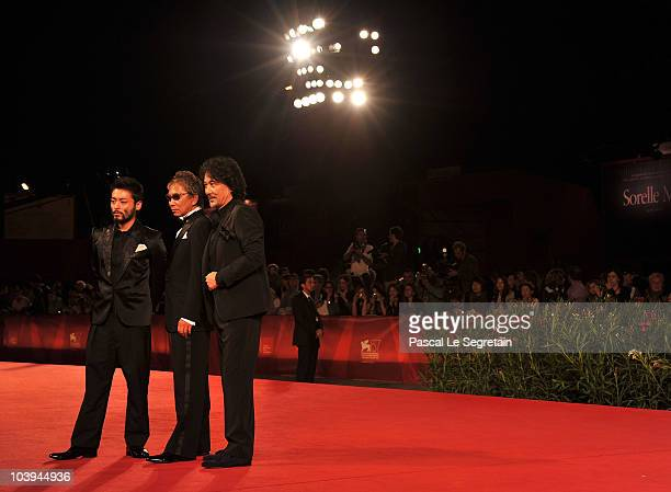 Actor Takayuki Yamada director Takashi Miike and actor Koji Yakusho attends the '13 Assassins' Premiere during the 67th Venice Film Festival at the...