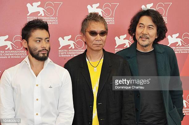 Actor Takayuki Yamada director Takashi Miike and actor Koji Yakusho attend the '13 Assassins' photocall at the Palazzo del Casino during the 67th...