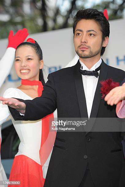Actor Takayuki Yamada poses on the green carpet during the Tokyo International Film Festival Opening Ceremony at Roppongi Hills on October 22 2011 in...