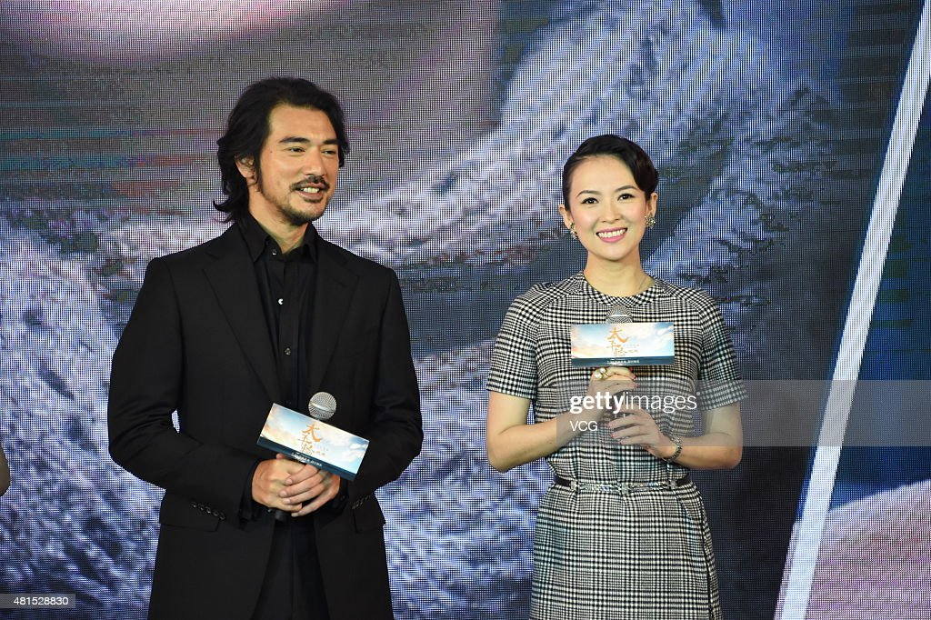 Actor Takeshi Kaneshiro and actress Zhang Ziyi attend 'The Crossing Part 2' press conference on July 22, 2015 in Beijing, China.