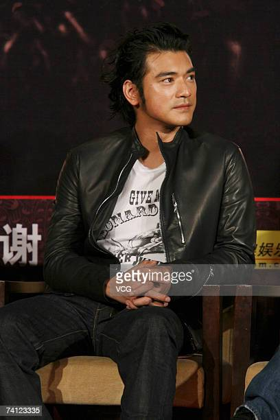 Actor Takeshi Kaneshiro attends a press conference for the John Woo film 'The Battle of Red Cliff' on May 10 2007 in Beijing China