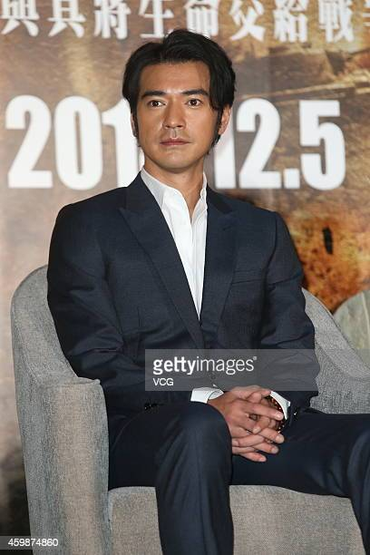 Actor Takeshi Kaneshiro attends press conference of movie 'The Crossing' on December 2 2014 in Taipei Taiwan of China