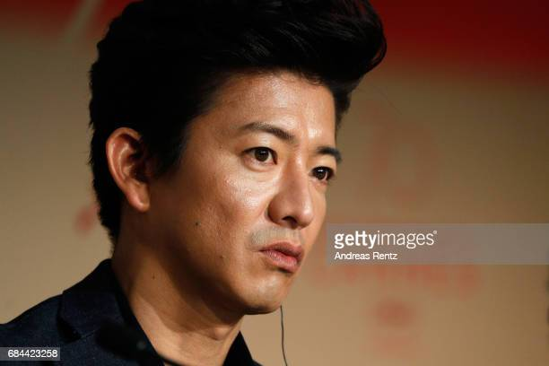 Actor Takuya Kimura attend the 'Blade Of The Immortal ' press conference during the 70th annual Cannes Film Festival at Palais des Festivals on May...