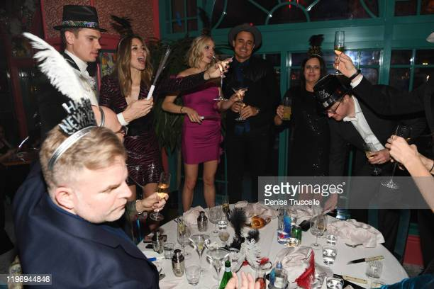 Actor Tanner Novlan actress Kayla Ewell actress Candice Accola and guitarist/songwrite of The Fray Joe King attend Mayfair Supper Club during its...