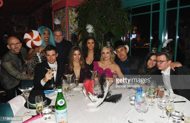 Actor Tanner Novlan actress Kayla Ewell actress Nina Dobrev Candice Accola and guitarist/songwriter of The Fray Joe King attend Mayfair Supper Club...
