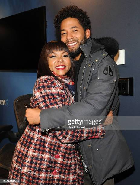 Actor Taraji P Henson and Jussie Smollett vist SiriusXM on January 9 2018 in New York City