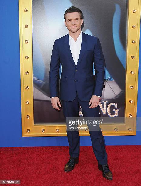 Actor Taron Egerton arrives at the Los Angeles Premiere 'Sing' at the Microsoft Theater on December 3 2016 in Los Angeles California