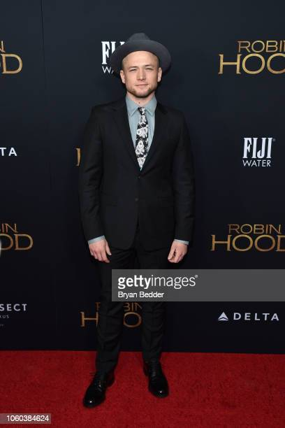Actor Taron Egerton attends FIJI Water at The New York Special Screening of 'Robin Hood' at AMC Loews Lincoln Square on November 11 2018 in New York...