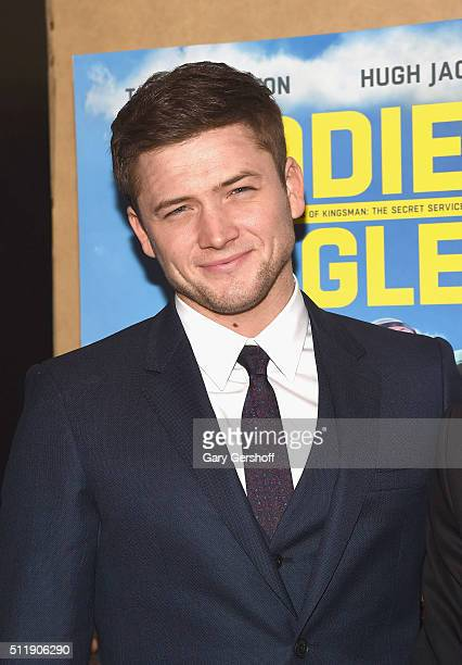 Actor Taron Egerton attends the 'Eddie The Eagle' New York screening at Chelsea Bow Tie Cinemas on February 23 2016 in New York City