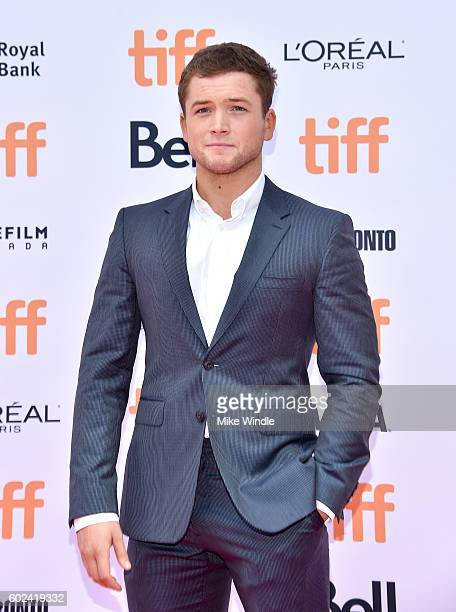 Actor Taron Egerton attends the 'Sing' premiere during the 2016 Toronto International Film Festival at Princess of Wales Theatre on September 11 2016...