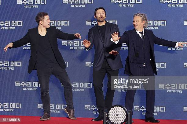 Actor Taron Egerton Hugh Jackman and director Dexter Fletcher attend the premiere for 'Eddie The Eagle' on March 7 2016 in Seoul South Korea Taron...