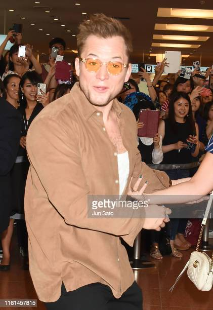Actor Taron Egerton is seen upon arrival at Haneda Airport on August 13 2019 in Tokyo Japan