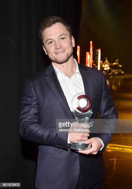 Actor Taron Egerton recipient of the Action Star of the Year award attends the CinemaCon Big Screen Achievement Awards brought to you by the CocaCola...