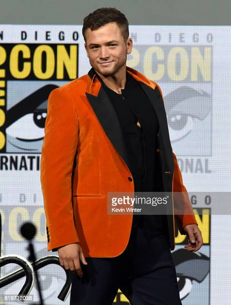 Actor Taron Egerton speaks onstage at the 20th Century FOX panel during ComicCon International 2017 at San Diego Convention Center on July 20 2017 in...